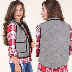 Altar'd State Quilted Wool Zipper Vest